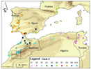 Map of Buthus scorpions